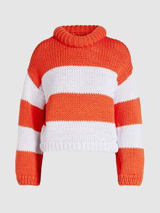 Tibi - Striped Cropped Cotton-Blend Jumper
