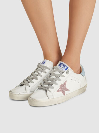 Golden Goose Deluxe Brand - Superstar Pink Star Blue Tab Leather Sneakers