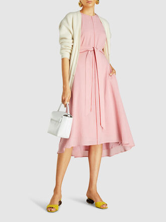 CEFINN - Two-Tone Belted Voile Midi Dress