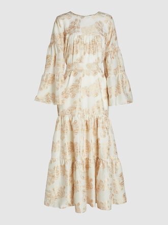 bambah - Belle Tiered and Belted Jacquard Kaftan
