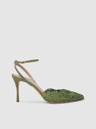 Tabitha Simmons - Olive Lace Ankle Strap Pumps