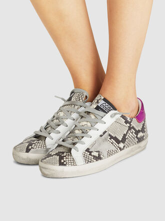 Golden Goose Deluxe Brand - Superstar Snake Print Pink Tab Leather Sneakers