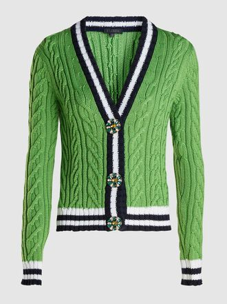 Escada - Crystal-Embellished Cable-Knit Wool Cardigan