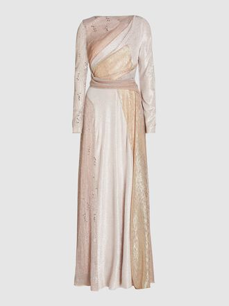 Talbot Runhof - Solymar Embellished Patchwork Chiffon Gown