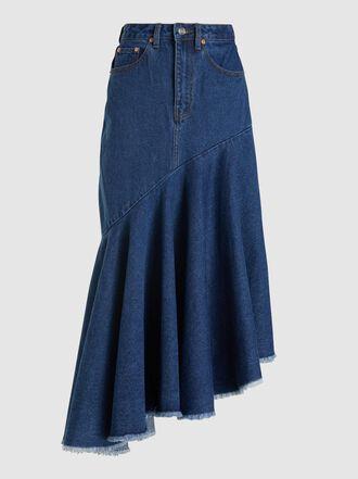 Solace London - Noe Asymmetric Denim Midi Skirt
