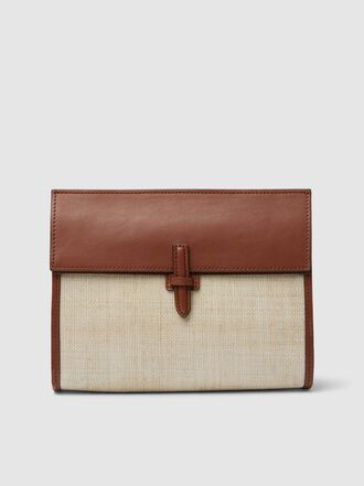 HUNTING SEASON - Leather and Woven Clutch