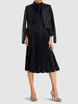 Adam Lippes - Crystal-Embroidered And Lace-Inset Silk Crepe Skirt