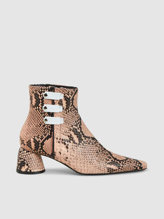 Ellery - Snake Print Pointed Leather Ankle Boots