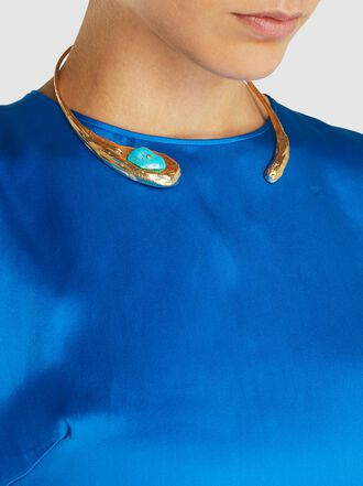 forte_forte - Open-Front Brass and Turquoise Stone Choker