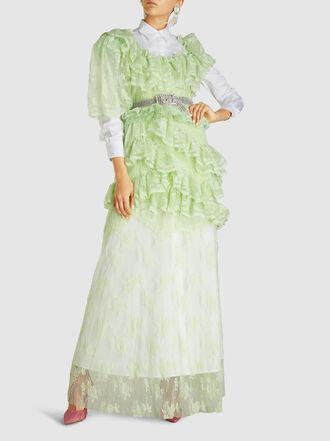 PREEN BY THORNTON BREGAZZI - Lexy Lace Floral Ruffled Nylon Maxi Dress
