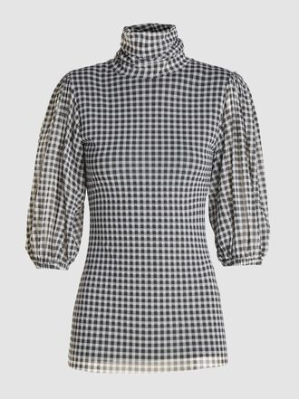 Ganni - Balloon-Sleeve Gingham Tulle Top