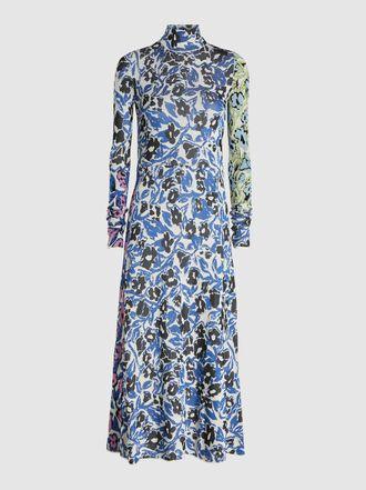 Christian Wijnants - Floral Print Intarsia Knit Midi Dress