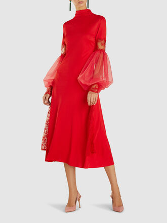 Christopher Kane - Lace and Tulle-Trimmed Crepe Midi Dress