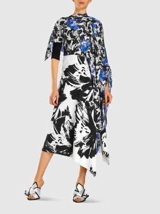 ROLAND MOURET - Calhern Printed Draped Silk Midi Dress