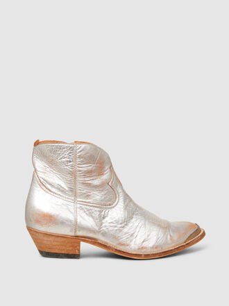 Golden Goose Deluxe Brand - Young Metallic Distressed Leather Ankle Boots