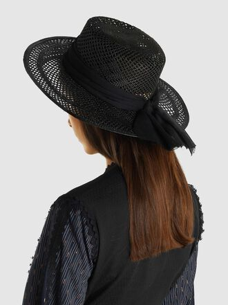 Sensi Studio - Open Weave Chiffon Trimmed Hat