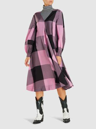 Ganni - Checked Balloon-Sleeve Sateen Midi Dress