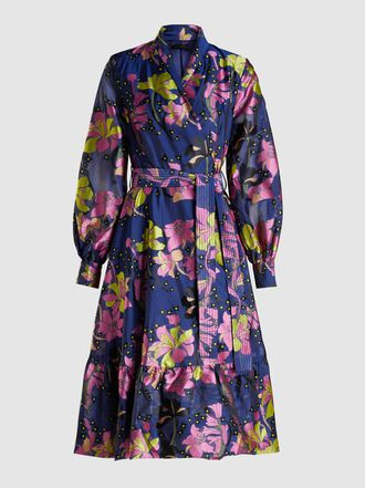 Stine Goya - Niki Floral-Print Hammered-Satin Wrap Dress