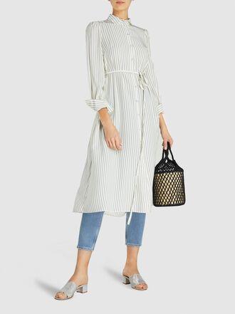 Co - Belted Striped Satin Maxi Shirt Dress