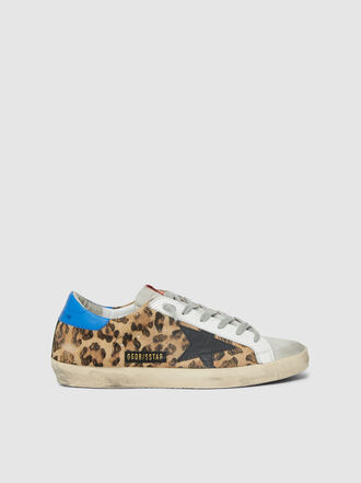 Golden Goose Deluxe Brand - Superstar Leopard Print Blue Tab Leather Sneakers