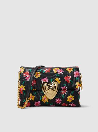 Escada - Floral Print Leather Heart Bag