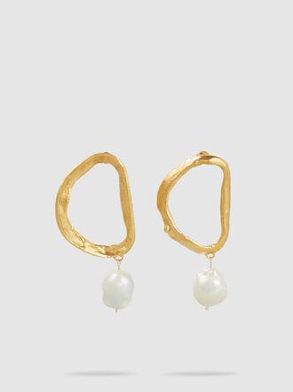 ALIGHIERI - Dante's Shadow Gold-Plated & Pearl Hoop Earrings