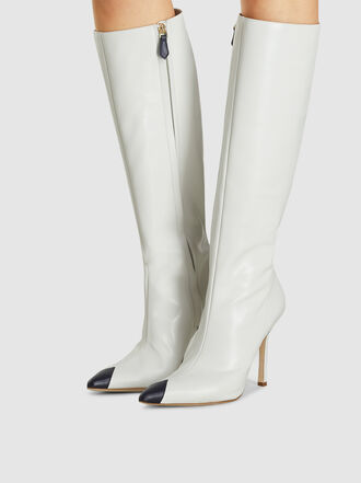 Alessandra Rich - Bi Colour Leather High Knee Boots