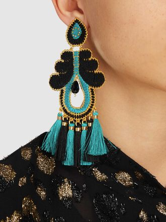 Mercedes Salazar - Turquoise Curubas Tassel Drop Earrings