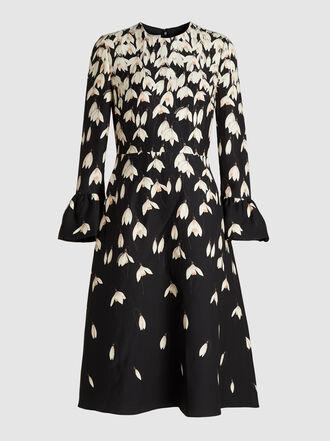 Valentino - Snowdrop Print Wool-Blend Crepe Dress