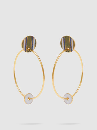 Monica Sordo - Kuru Onyx Striped Gold-Tone Hoop Earrings
