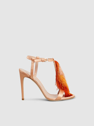 Alberta Ferretti - Fringed Satin High-Heel Sandals