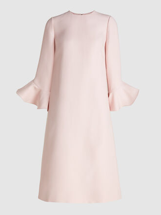Valentino - Bell Sleeve Wool-Blend Midi Dress