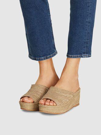 CARRIE FORBES - Karim Open Toe Raffia Flatform Sandals