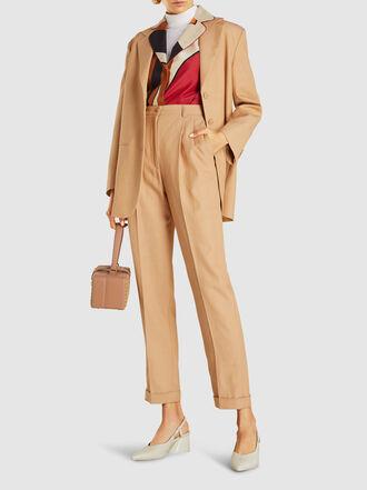 Alberta Ferretti - Pleated Canvas Tapered Trousers