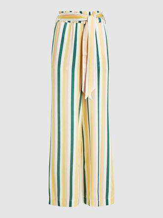 Asceno - Striped Wide Leg Silk Trousers