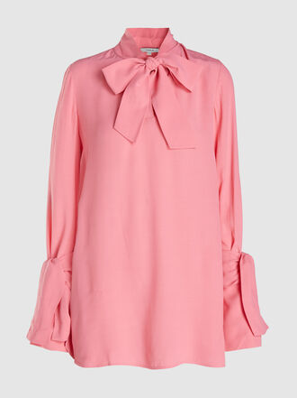 LAYEUR - Baxter Tie Neck Belted Crepe Shirt