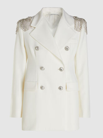 Alessandra Rich - Crystal Embellished Tailored Blazer