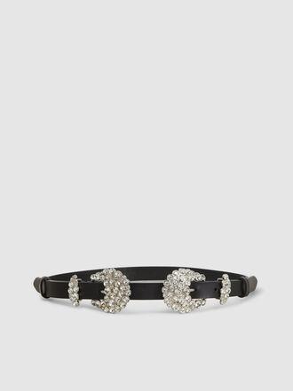 Alberta Ferretti - Crystal-Embellished Leather Belt