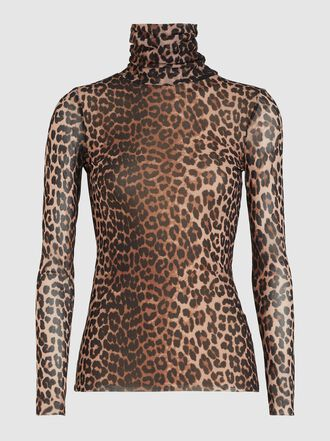 Ganni - Leopard Print Turtleneck Mesh Top