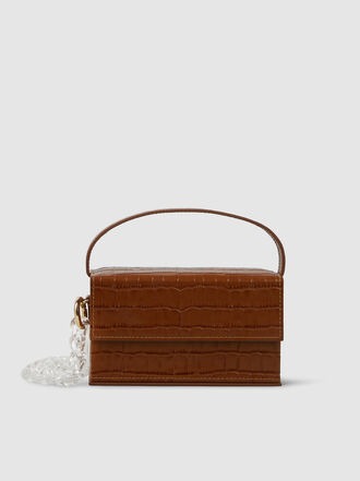 L'Afshar - Ida Croc-Effect Leather Box Bag