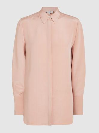LAYEUR - Silk Long Sleeve Button Down Shirt