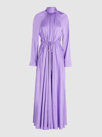 Solace London - Akan Ruched Satin Maxi Dress