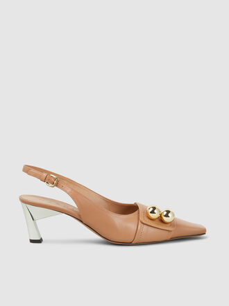Marni - Button Detail Slingback Leather Pumps