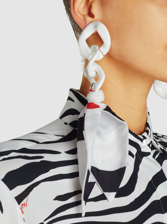 MSGM - Silk-Trimmed Acrylic Chain Clip Earrings