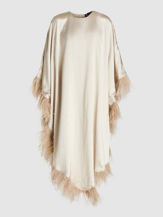 Alison Brett - Angi Feathered Trim Silk Kaftan
