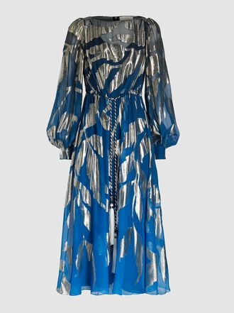 Peter Pilotto - Tie Neck Gold Leaf Jacquard Silk-Blend Kaftan Dress