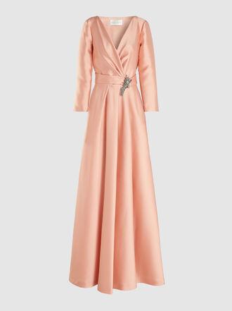 Alberta Ferretti - Crystal-Embellished Silk-Satin Gown