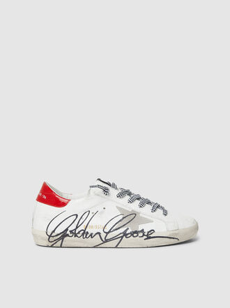 Golden Goose Deluxe Brand - Superstar Cracked Red Tab Signature Leather Sneakers