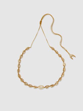 Tohum - Natural Small Puka Shell Gold-Tone Brass Necklace