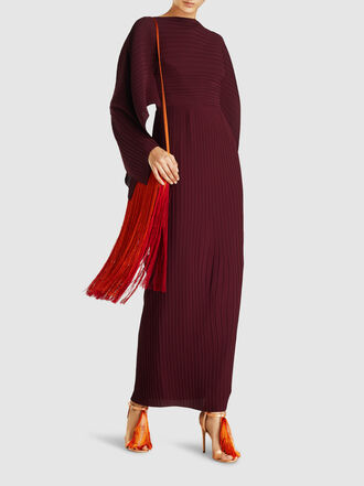 Solace London - Adami Draped Plissé Chiffon Maxi Dress
